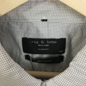 rag & bone Shirts - Rag & Bone Mens Grey Micro Check Yokohama Shirt